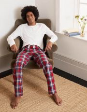 Cotton Poplin Pyjama Bottoms Red/Khaki Check Men Boden, Red/Khaki Check