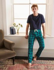 Cotton Poplin Pyjama Bottoms Green/Navy Gingham Men Boden, Green/Navy Gingham